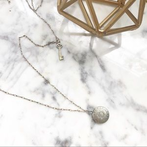 Vintage Inspired Coin Locket Key Station Necklace